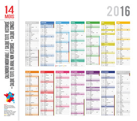 Calendrier 2016 / 14 mois - MODIFIABLE