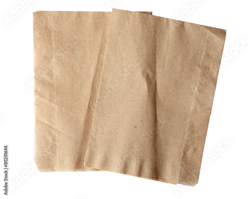 brown napkin isolate on white (clipping path) - 80201644