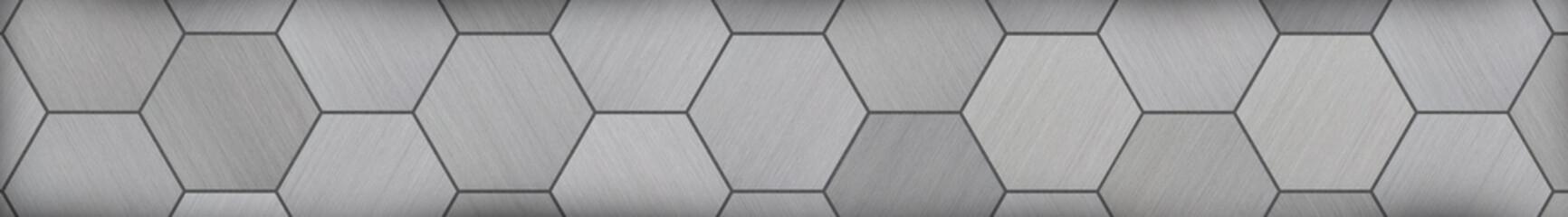 Hexagonal Aluminum Panoramic Metal Background (Letterbox Format)