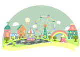Amusement park in flat style