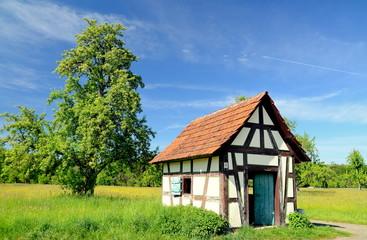 Schäferhütte auf einer Frühlingswiese