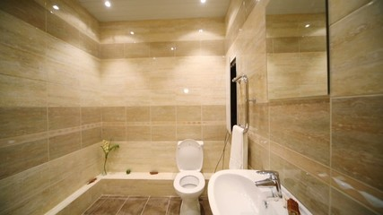 Modern toilet room with brown tiles on floor and walls