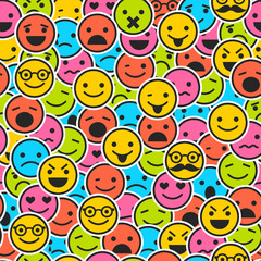 Seamless pattern with color emoticons for design
