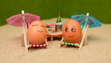 easter funny eggs under umbrella