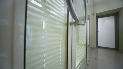 Transparent office door with doorbell and jalousie