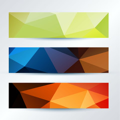 set of colorful triangles pattern banners template, vector