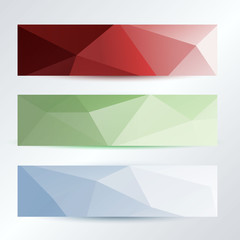 set of triangles pattern dark to bright banners template, vector