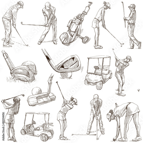 Fotobehang Golf Golf and Golfers - Hand drawn pack