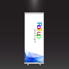 modern colorful roll up display banner with blue geometric