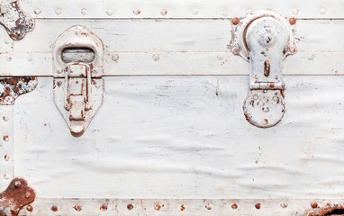 old white suitcase, fragment