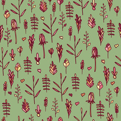 Seamless floral pattern on a green background. Doodle style