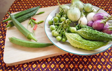 Mix fresh Thai vegetables on a plate