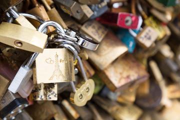 Love padlocks on the bridge Pont des Arts