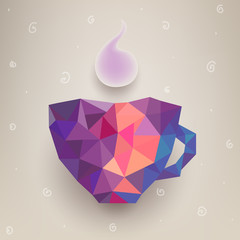 Vector cute colorful cup made of triangles. Label design
