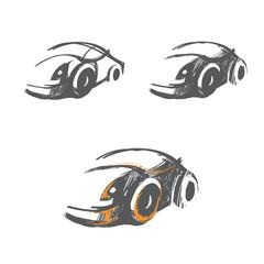 vector set of hand-drawn car sketches