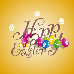 Easter color rabbit eggs orange background