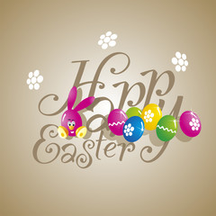 Easter color rabbit eggs brown background