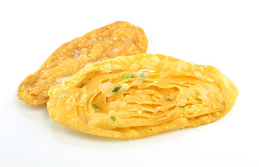 fried crispy roti on white background