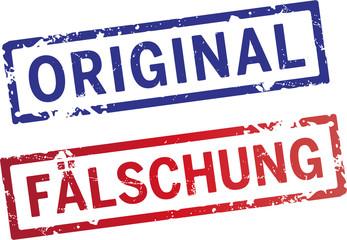 stempel Original und Fälschung