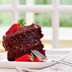 Fresh Home made sticky chocolate cake