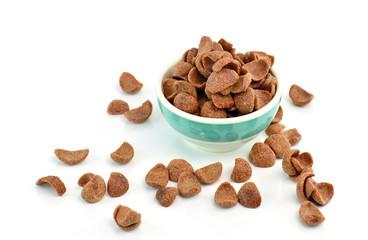 cocoa crunch cornflakes on white background