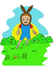 Happy Kid Finding Egg on Easter Hiding Eggs Game