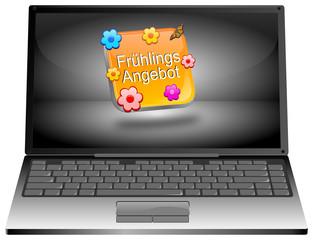 Laptop mit Frühlings Angebot Button