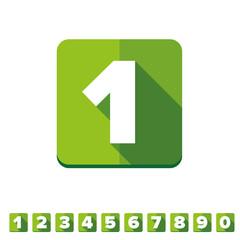 Number vector set green - flat design