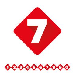 Number vector set red - flat design