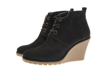Female Black Suede Shoes. Isolated