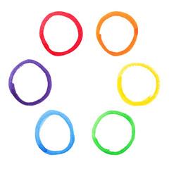 Colorful watercolor circles set