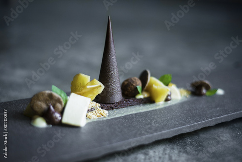 chocolate, fruit and nuts dessert platter - 80208837