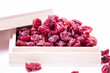 Dried cranberries in a wooden box