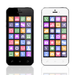 Black and white smartphones with apps icons