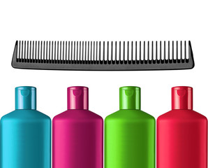 Plastic colorful bottles shampoo and black comb isolated on whit