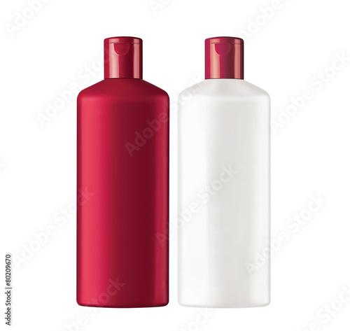 Plastic bottles shampoo isolated on white background - 80209670