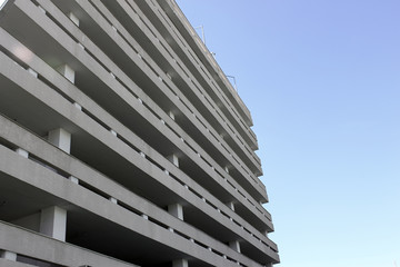 A multi-storey garage for cars