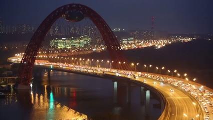 Night view on Zhivopisny Bridge is cable-stayed bridge