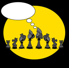 chess set, cartoon