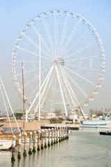 A ferris wheel on the sea
