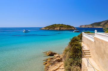View of beautiful beach in Camp de Mar, Majorca island, Spain