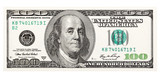 100 dollar bill, on a white background. The largest denomination