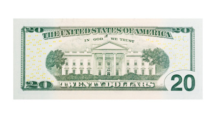 $20 banknote U.S. dollars isolated on white background.