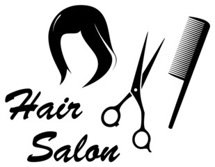 hair care icon with woman head