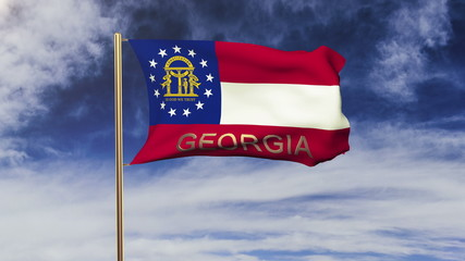 georgia flag with title waving in the wind. Looping sun rises