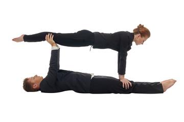 Concept of multitasking. Acrobats keep balance