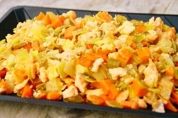 saumon aux poireaux ,carotte et soja