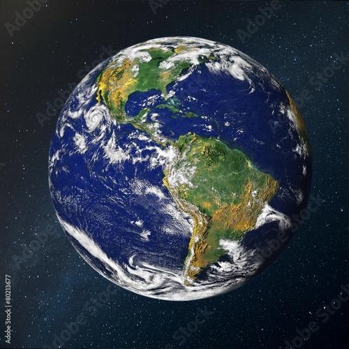 Spoed canvasdoek 2cm dik Luchtfoto Paneta Tierra sobre el espacio
