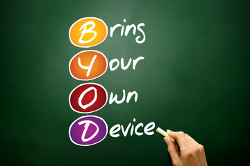 Bring Your Own Device (BYOD), business concept on blackboard