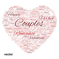 Vector conceptual Valentine heart word cloud
